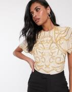 Virgos Lounge – Verzierter Bodysuit in Gold